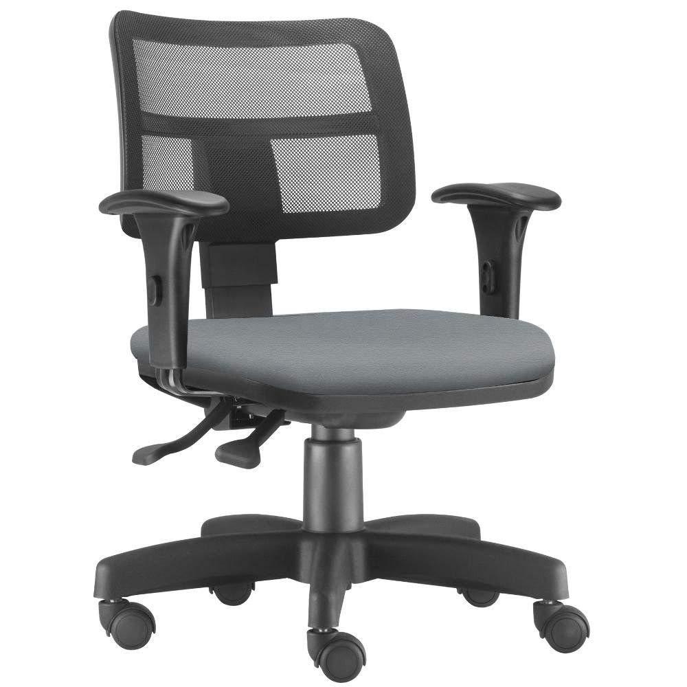 Cadeira Giratória Zip Executiva Ergonômica Escritório Suede Cinza