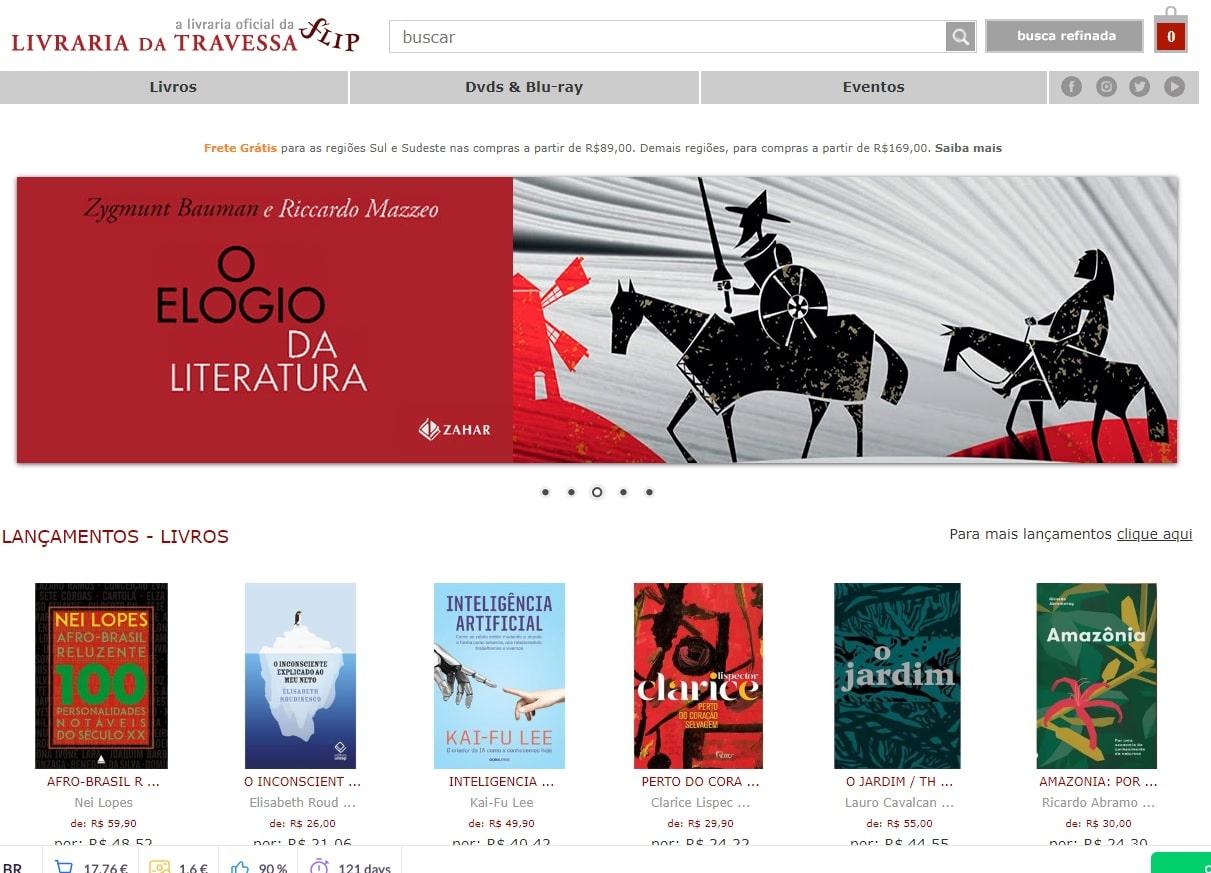 website da Livraria Travessa