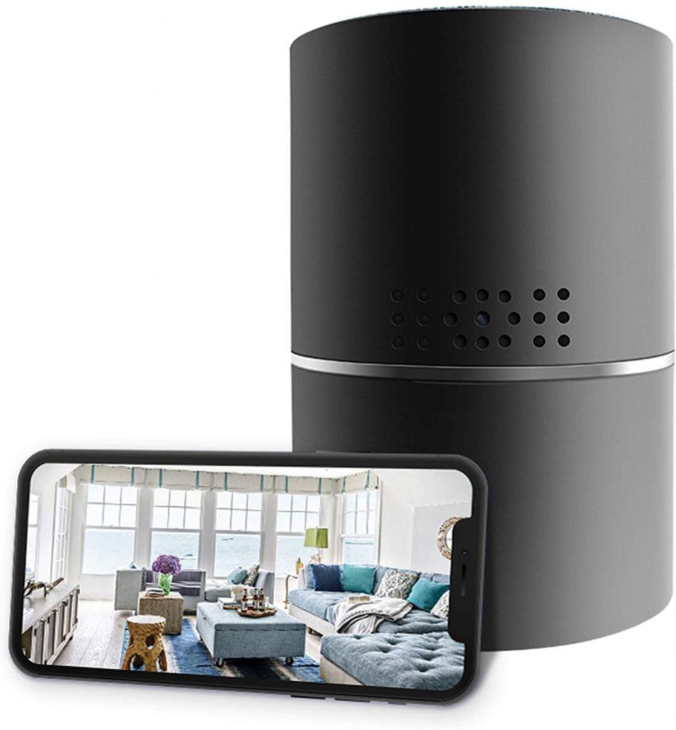 Caixa de som bluetooth câmera de segurança P2P com um celular encostado