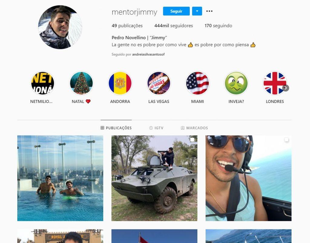 Instagram do produtor do Net miliarios