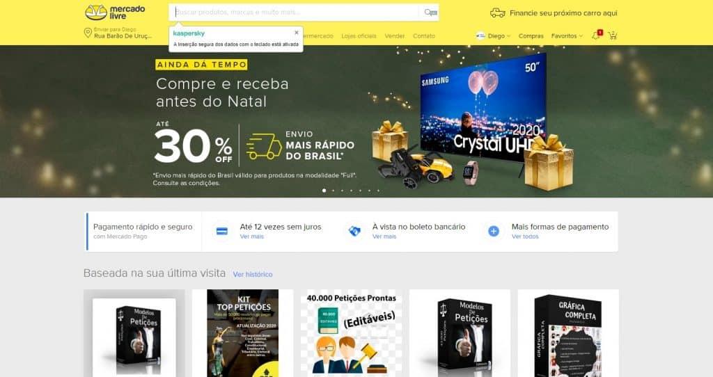 screenshot do site mercado livre