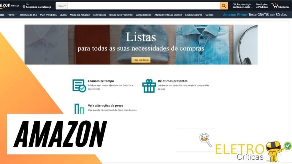 screenshot do site da amazon